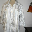 Coupe Collection Size XL Jacket Weekend Zipper Front White Gold Silver Not Lined