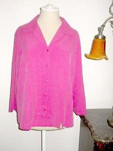 Carole Little Silk Shirt Size XL Button Front Career Top Cyclamen Pink 3/4 Slvs
