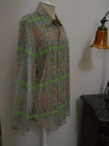 CHAPS Shirt Size XL Green Blue Orange Floral Print Career Top Button Front New
