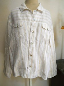 Chico's Linen Shirt 2 M to L White with Golden Stripes Excellent Used Once EUC