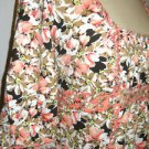 Ann Taylor LOFT M Black White Apricot Floral Top Elbow Long Sleeves Good Used