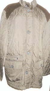 Khaki Quilted Jacket L Lined Zipper Front Elbow Patches Gently Used Tasso Elba