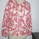 Liz Claiborne Cardigan Size L Career Floral Fine Cotton Blend Multicolor New