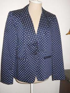 Cynthia Rowley Blazer XL Designer Navy Blue White Polka Dots Career New No Tag