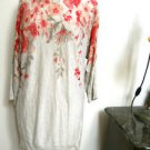 INC Size XL Sweater Beige Pink Floral Print Rhinestone Studded New No Store Tags