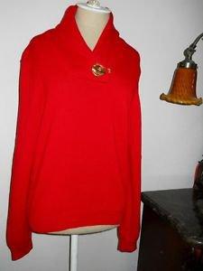 Ralph Lauren Red L Sweater Career Golden Twist Lock Green Label Cotton New