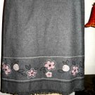 Ann Taylor LOFT Skirt 6P Floral Winter Mini Embroidered Gray Wool Blend New NWOT