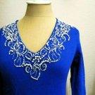 Jones New York Size PP Cornflower Blue Sweater White Beads Rib Knit Stretch New