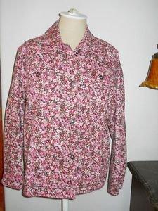 Diane Gilman DG2 Jacket Size M Career Pink Floral Cotton Blend Fabric Not Lined