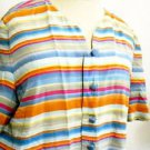 Talbots Pure Silk Top 4 Shirt Striped Multi Color Short Slv Excellent Preowned