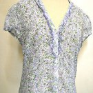Zara Basic Floral Blouse Size M Cap Sleeves Button Front Top Excellent Used EUC