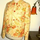 Coldwater Creek Jacket S Small Career Floral Linen Rayon Rose Shaped Buttons New