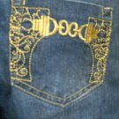 Aviva Size 9 Jeans Pants Gold Embroidery on Pockets Designer Good Used