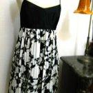 BCBG Silk Dress Sze 2 Black White Floral Empire Waist Feather Light Excellt Used