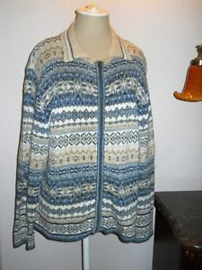 Tiara Cardigan XL Blue White Career Zip Front Nordic Pattern Jacket Soft New