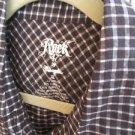 Wrangler Rock 47 Shirt XL Women Black Silver Checks Career Cotton Short Sleeve