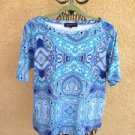 Jones New York T Shirt Size 2X Cobalt Blue Turquoise Cotton Top Paisley Short Sl