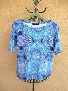 Jones New York T Shirt Size 2X Cobalt Blue Turquoise Cotton Top Paisley Short Sl
