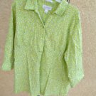 CJ Banks Shirt 2X Green Crinkled Cotton Stretchy 3/4 Long Sleeve Top New NWOT