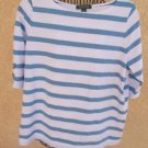 Ralph Lauren 1X Blouse Blue White Striped T Shirt Casual Top Monogram Buttons