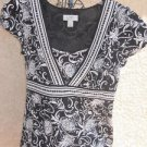 Ann Taylor LOFT Dress Size 4 Cap Sleeve Black White Flower Floral Mid Calf