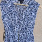 Calvin Klein Top Size S Blue White Floral Paper Thin Cotton New No Tags