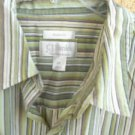 CJ Banks Shirt 2X Green Beige Gold Long Sleeve Cotton Top Striped Excellent Used