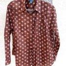 Lauren Ralph Lauren Shirt 1X Career Top Brown Pink Floral 3/4 Sleeves w FLAW