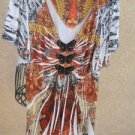 2X Blouse Brown Orange Slinky Polyester Short Sleeves Top Crochet Butterfly New