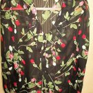 East 5th Size XL Top Sheer Black Red Rosees Buds Buttons Shirt Ruffled Neck New