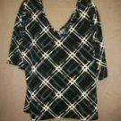 Ashley Stweart 22 24 Blouse Black White Slinky Top V Neck Geometric Print New