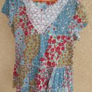 J W Style Floral Top Blouse M Medium White Crochet Accent Red Roses  New NWOT