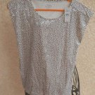 Ann Taylor Size XSP Tank Top Beige Gray Specks Clear Sequins New Cotton NWT