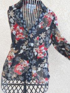 Jones NY Long Sleeve Size 4 Misses Shirt Top Blouse Black Red Vanilla New NWOT