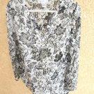 Susan Graver Style 1X Blouse Black White Silver Metallic Top Long Slve New NWOT