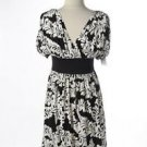 Magy London Dress Size 6 Black White Floral Cap Sleeves Double Bodice New NWOT