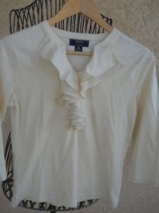 CHAPS PS Ivory Color T Shirt Top Ruffled Front 3/4 Sleeves Cotton New NWOT