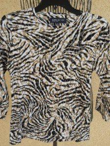 Jones New York S Teeshirt Animal Print Small Top 3/4 Slve Blouse Brown Grey New