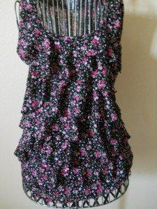 Motherhood Floral RuffleTank Top Size S Small Misses Black Pink Flowers New NWOT