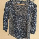 CHAPS Ralph Lauren Blouse S Blue White Floral Sheer Flowers 3/4 Sleeves New