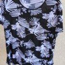 21 Size 1X Top Blouse Rhinestones Black White Floral Print Slinky Polyester EUC