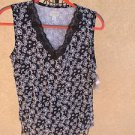 Starialle Tank Top M Black White Floral Print Sleeveless Career Lace Trim New