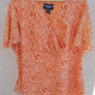 Russell Kemp Woman 2X 3X Top Blouse Flaming Orange Short Sleeves Lined New NWOT