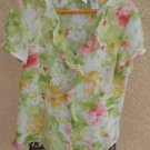 Emma James Floral Shirt Size 12 Top Short Sleeves Flowers  White Green Pink NWOT
