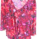 Avenue Stretch 18 20 Woman Burgundy Pink Floral Mums Top Blouse New Without Tags