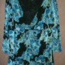 Renaissance Top 1X Blue Black Floral Slinky Plus Size New NWOT