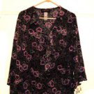 Sag Harbor Shirt Top 20W Blouse Ruffled Neck Sleeves Plus Size Floral New NWT