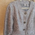 CHICO's Size 2 Jacket L XL Women Floral Gray Thin Brocade Lined New NWOT