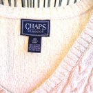 CHAPS Sweater 3X White Silver Metallic Cotton Cable Knit Long Slvs New With Tags