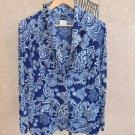 Slinky Brand Acetate Cardigan Sweater L Jacket Blue Floral Print Career New NWOT